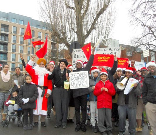 Over 50 local workers and campaigners joined the West London Council of Action mass Xmas picket outside Ealing Hospital yesterday
