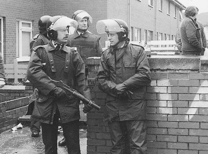 RUC riot police on a street corner in the north