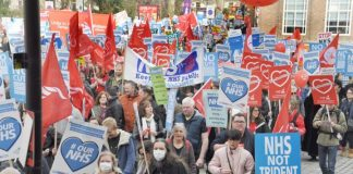 Marchers defending the NHS and making the point that one of the best ways to finance it would be to get rid of Trident
