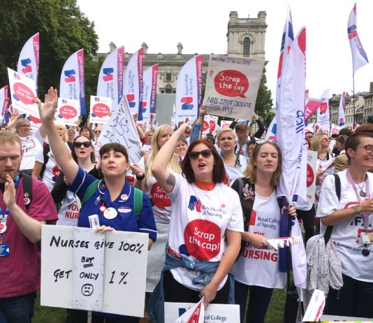 Nurses in Parliament Square demand 'Scrap the 1% pay cap' – nurses are so badly paid that there are reports of some visiting food banks