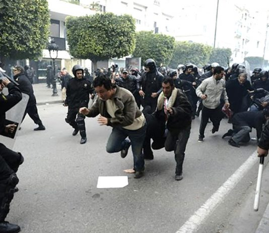 The Tunisian police violently attacked the protesters