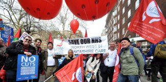 Mass march through London last year where tens of thousands demanded the trade unions take action to defend the NHS