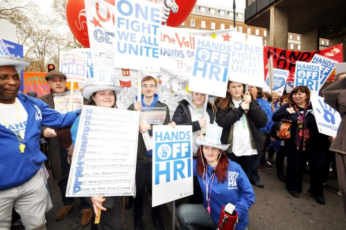 Huddersfield Royal Infirmary protest – one of the thousands of demonstrations against the cuts in the NHS