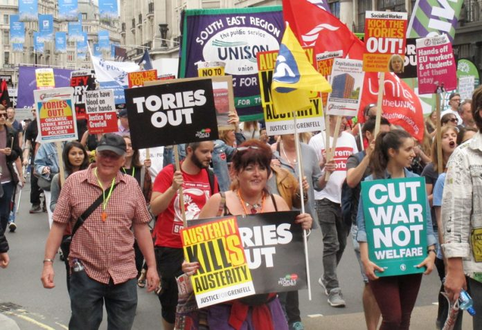 Trade unionists march on Parliament last July demanding 'Tories Out!' – The TUC leadership is now collaborating with them