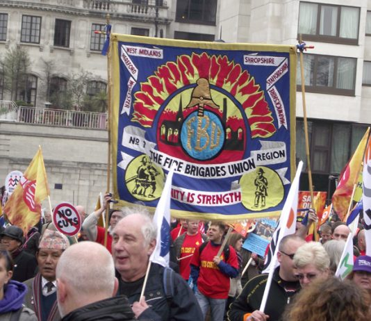 West Midlands FBU banner on a TUC demonstration against cuts