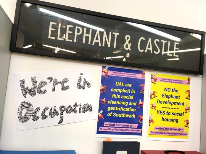 UAL students are in indefinite occupation opposing the Elephant & Castle gentrification