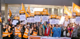 Carillion GMB members at the Great Western Hospital in Swindon during their strike action against harassment and bullying