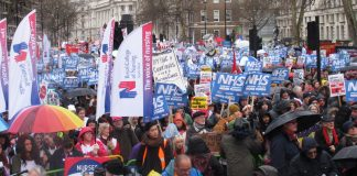 A section of the tens of thousands at the rally opposite Downing Street