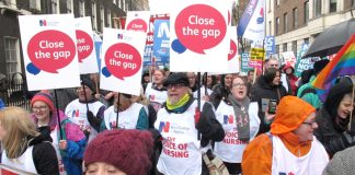 Nurses on the march on Saturday's 20,000-strong demonstration to defend the NHS