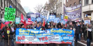 Local residents and campaigners from Southend joined Saturday's 20,000-strong demonstration to defend the NHS