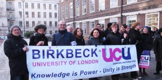 Striking lecturers at Birkbeck University of London on the picket line fighting for better wages and conditions – they are going on strike nationwide on February 22