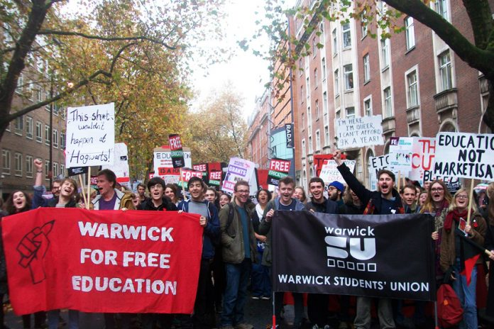 Sister students union to Coventry, Warwick, on the march for free education – Coventry SU President Francis Ahanonu said: 'Companies which are employing young graduates for free must be threatened with legal action'