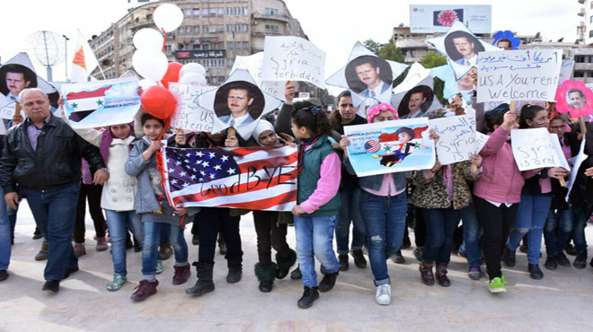 Demonstration through liberated Aleppo declares 'Goodbye USA'