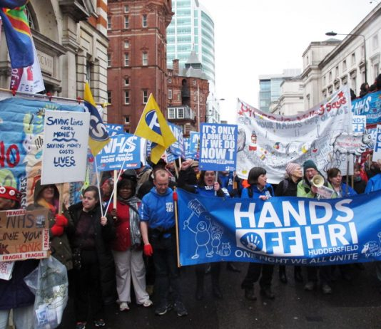 RI campaigners on the 100,000-strong 'Hands off the NHS' demonstration in London last March