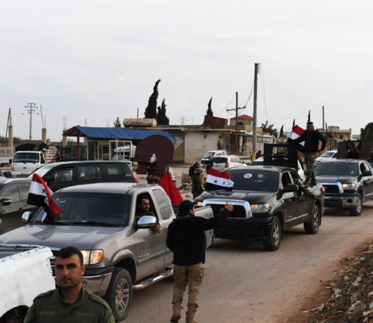 Syrian popular forces arriving in Afrin area on Wednesday to support the locals against Daesh terrorists and Turkish regime aggression