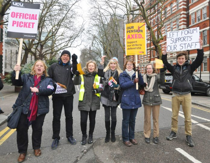 One of the six lively picket lines of UCU strikers at Imperial College with students showing their support for the strike