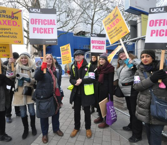 Students join lecturers on the picket line outside Imperial College in west London on the second day of their nationwide strike