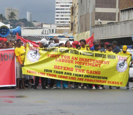 THOR banner on a demonstration in Durban