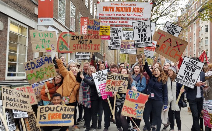 Students demonstrate last year against tuition fees