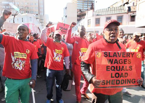 South African workers marching against slavery wages – White families still earn five times more than African families