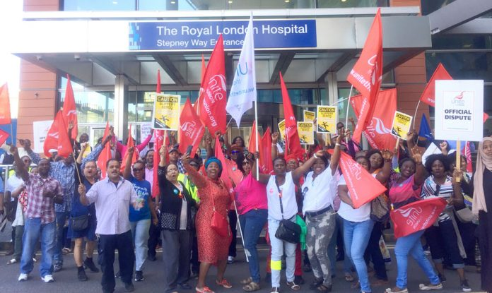Striking Serco workers at the Bart's NHS trust in east London – will Serco be the next Carillion?