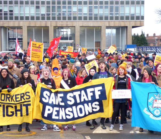 Students joined a thousand-strong rally in Sheffield in support of striking lecturers fighting against the privatisation of their pensions