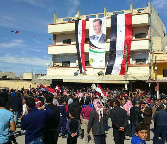 Thousands of residents of Eastern Ghouta turned out to celebrate the liberation from the terrorists