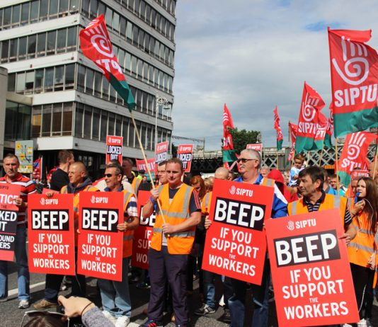 Locked-out Siptu members at Greyhound fighting for better wages and conditions – their members are fighting in both the agriculture sector and telecommunications
