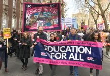 UCU strikers fighting to defend their pensions were joined by students yesterday on a lively march through central London