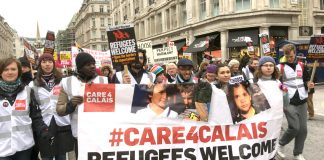 The Care4Calais contingent with a clear message