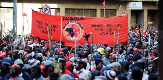 NUMSA marching during a recent strike – the new labour laws 'will make it impossible to go on strike'