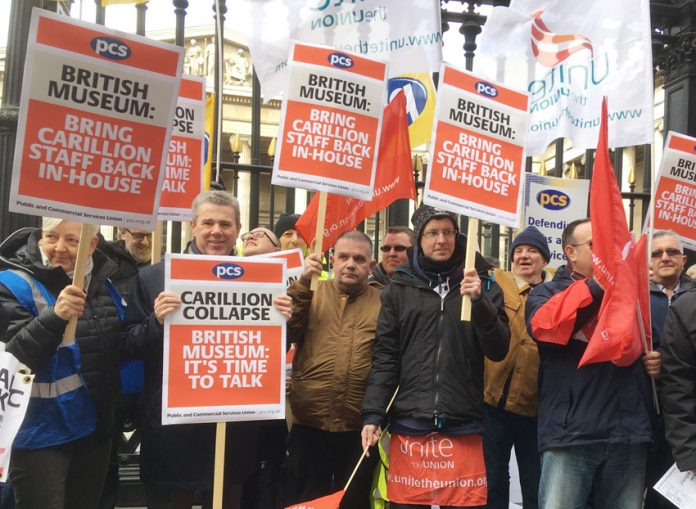 Yesterday's protest demanding ex-Carillion staff at the British Museum be brought back in-house