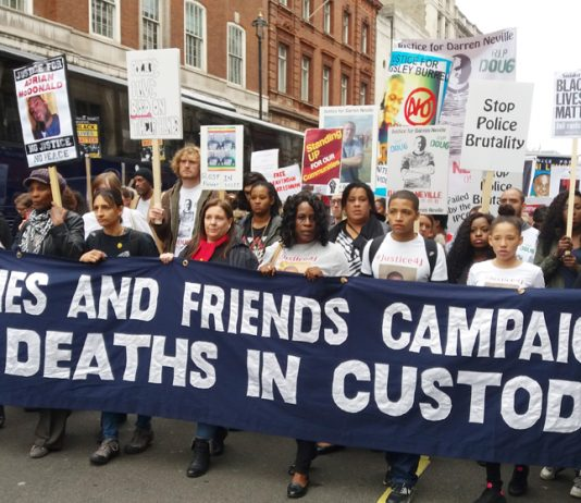 Families and friends of those who died in police custody marching on Downing Street – victims of police spying stormed out of the inquest in protest on Wednesday