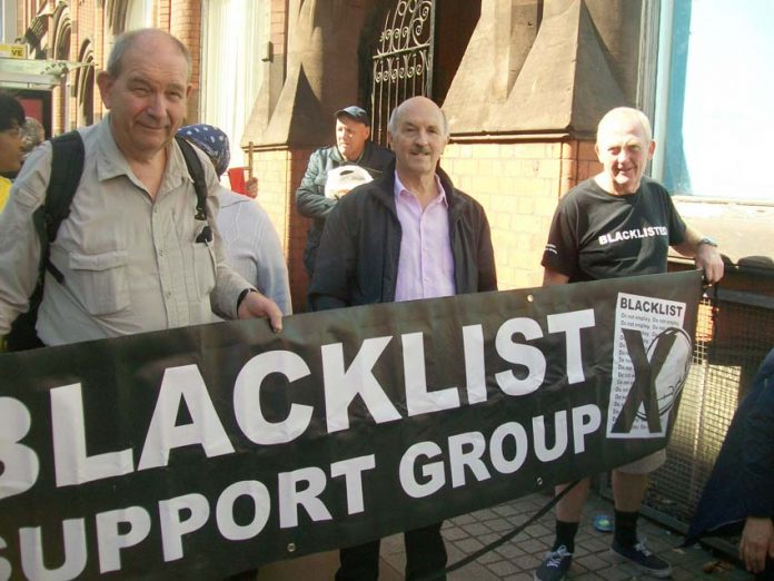 Blacklisting protest – the police and Special Branch have been illegally making lists of workers to be blacklisted for the bosses