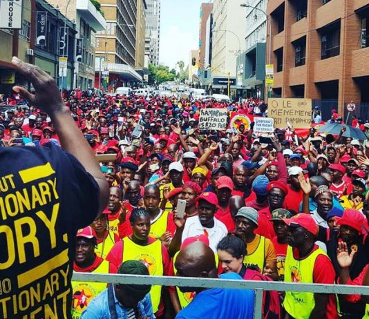 South African unions rally in Johannesburg last Wednesday in defence of their rights