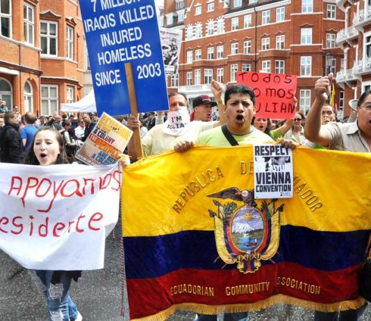 Demonstration outside the Ecuadorian embassy in London in support of Julian Assange on 16th August 2012, the day Ecuador granted him asylum – Assange's supporters are expected to flock to the embassy to defend him after this latest attack