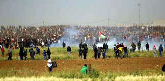The thousands of Palestinians commemorating Land Day on Friday were shot at by Israeli snipers and bombed with gas from Israeli drones as they held a peaceful March of Return