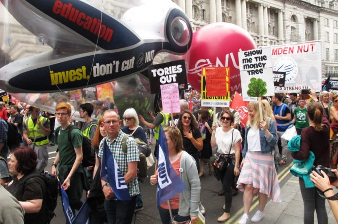 Teachers on the 300,000-strong march to kick the Tories out last July 1st