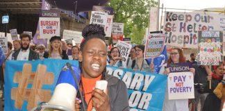 Student nurses demanding bursaries are restored – the number of applicants is down 10%