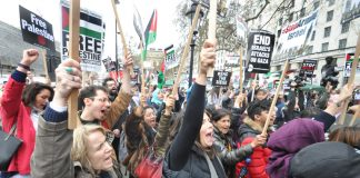 'In our millions, in our billions, we are all Palestinians!' shouted the thousands demonstratiing opposite Downing Street on Saturday