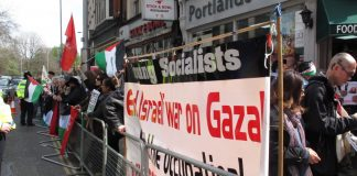 A section of the picket led by the Young Socialists demanding 'End the War on Gaza'