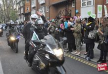 Deen Riders bikers' 'Honour Ride for Grenfell' applauded after the Silent March on Saturday 14th April, ten months after the inferno