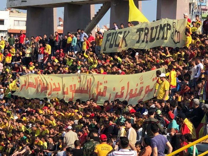 Syrian football fans in Latakia defiant after the imperialist missile attacks