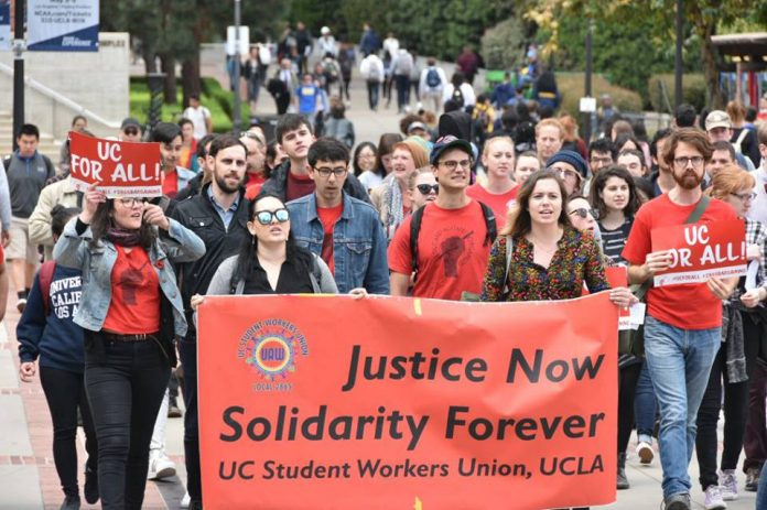 University of California Student Workers Union members marching last week to the pay talks