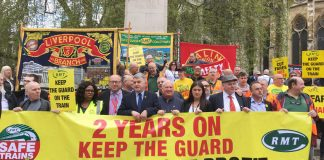 RMT marked two years of strikes by the union to 'Keep the Guard on the Train' with a demonstration opposite parliament yesterday