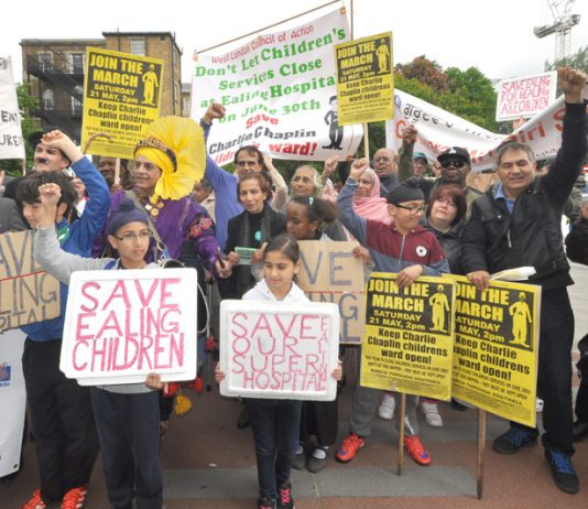 Ealing residents pictured here with Charlie Chaplin (back, left) fought really hard to stop the closure of Ealing Hospital's Charlie Chaplin Children's ward in May 2016 – children's departments are threatened across the country while doctors face 'burnout