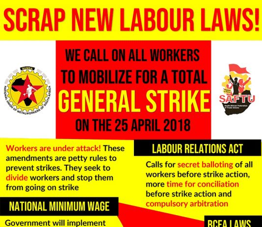 SAFTU poster produced for the 25th April General Strike