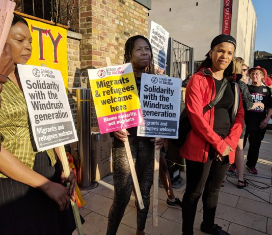 A demonstration in Windrush Square, Brixton in solidarity with the Windrush generation. There is to be a Support Windrush  Generation demonstration in Parliament Square today from 4.00-7.00pm