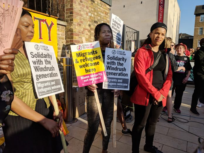 A demonstration in Windrush Square, Brixton, London in solidarity with the Windrush generation. There is to be a Support Windrush Generation demonstration in Parliament Square today from 4.00-7.00pm