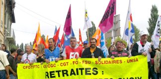 French unions demonstrate against pension cuts